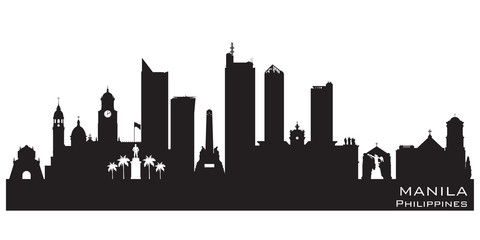 Wall Mural - Manila Philippines city skyline vector silhouette