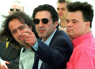 From L-R: Belgian director Jaco Van Dormael, French actor Daniel Auteuil who points, and Pascal Duqu..