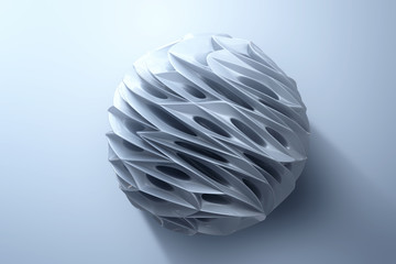 Abstract 3d rendering of high poly silver sphere with chaotic structure on white background. Sci-fi background with wireframe and globe in empty space. 3d rendering