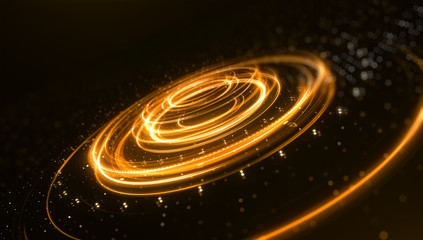 Science fiction futuristic 3D speed tunnel warp. Abstract lens flare space or time travel concept background. 3d rendering