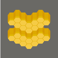 Honey vector illustration banner, honeycomb image, flat icon illustration with sweet tasty honey. Natural eco bio product made with bees for bio business.
