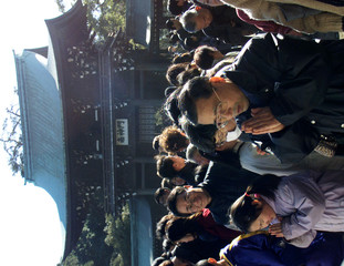 JAPANESE CELEBRATE THE NEW YEAR AT MEIJI SHRINE IN TOKYO.