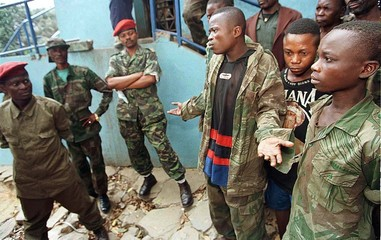 Several boy soldiers who had been recruited by the army of [President Kabila] and then refused to jo..