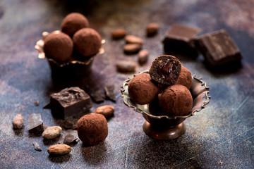 candies truffles with chocolate cream