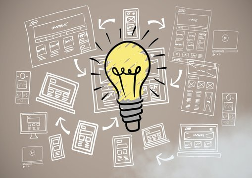 Colourful lightbulb and image computer drawings graphics