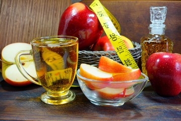 Fresh apples, apple juice or apple cider vinegar in your of diets. - Apples for the health and the beauty.