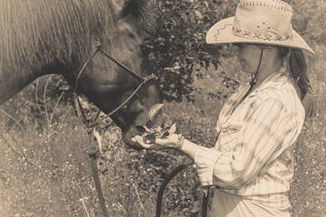 Western woman taking care of horse on meadow