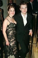 """Titanic"" stars Kate Winslet and Leonardo DiCaprio pose at Paramount Pictures post-Golden Globe Awar.."