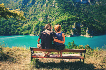 Piva Canyon in Montenegro - nature travel background. Canyon in Pluzine
