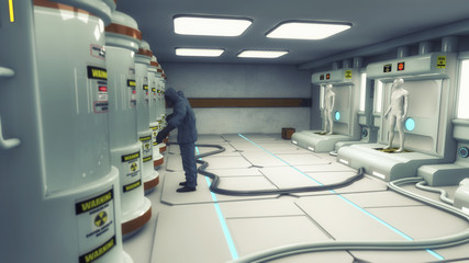 3d render. Laboratory and clonnig manufacturing