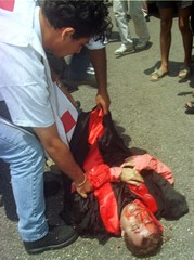 LEBANESE RED CROSS GIVE FIRST AID TO JUDGE FOLLOWING COURT ROOM SHOOTING.