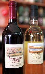"A bottle of the new ""Jerusalem 2000""  red wine on display September 27 next to a bottle of the new w.."