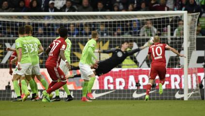 Bayern Munich's David Alaba scores their first goal