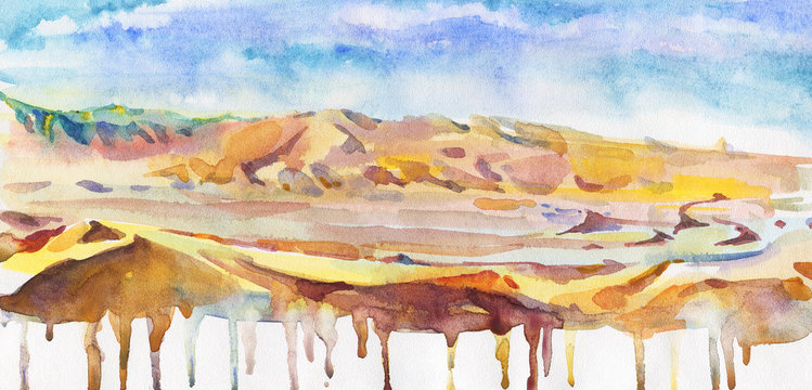 Hand drawn abstract background. Watercolor desert and sky. Painting splash illustration