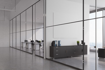 Office lobby with glass walls