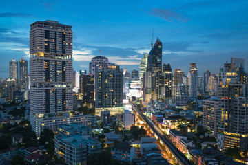 Bangkok city overlooking Sukhumvit Road