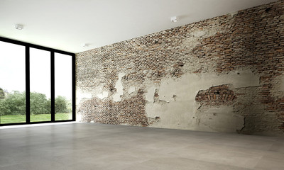The 3d rendering interior design of brick wall empty room