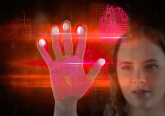 young girl hand scan. red and pink