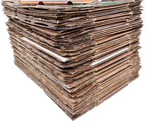 Isolated stack of cardboard for recycling.