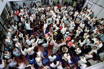 HEALTH CARE WORKERS PROTEST INSIDE COSTA RICAN HOSPITAL.