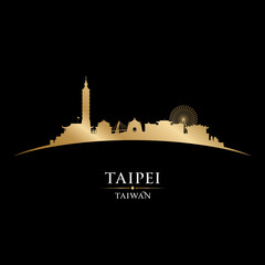 Taipei Taiwan city skyline silhouette black background