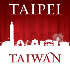 Taipei Taiwan city skyline silhouette red background