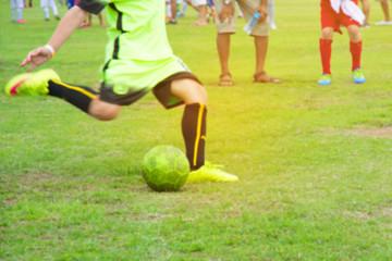 Kids Playing Soccer Football Match.