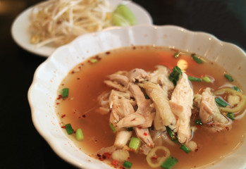 Spicy Thai Soup Noodle With Steamed Chicken Served Fresh With Bean Sprouts