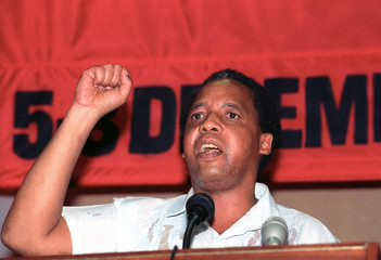 CHRIS HANI DELIVERS SPEECH IN JOHANNESBURG.
