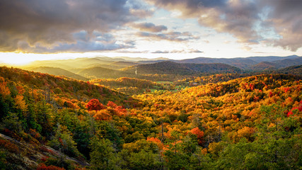 Autumn Sunset on the Blue Ridge Parkway from Flat Rock Overlook