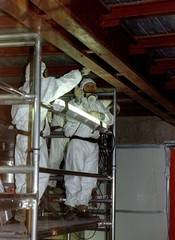 Building workers wearing full protective clothing remove asbestos from the Berlaymont building Octob..