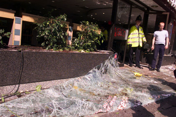 DAMAGED MCDONALDS STORE IN LONDON CITY PROTEST.
