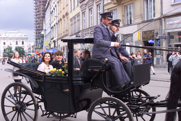 SWEDISH QUEEN SILVIA RIDES A CARRIAGE IN KRAKOW.