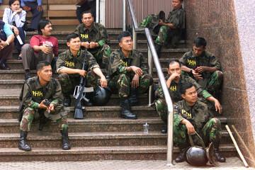 RIOT POLICEMAN RELAX IN JAKARTA.