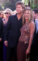 BRAD PITT AND JENNIFER ANISTON ARRIVE AT EMMY AWARDS.