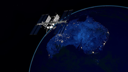 Extremely detailed and realistic high resolution 3D image of ISS - International Space Station orbiting Earth. Shot from space. Elements of this image are furnished by Nasa.