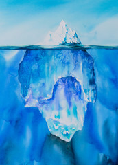 Glacier in the ocean. Picture created with watercolors.