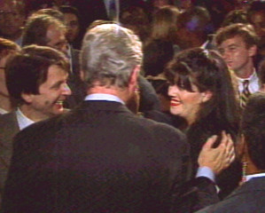 President Clinton puts his hand on Monica Lewinsky's shoulder at a Washington fundraising event  Oct..