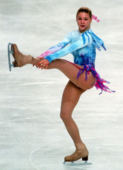 Vanessa Gusmeroli of France performs her free program in the women's event at the Lalique Trophy Cha..