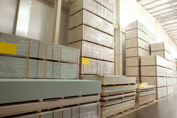 Building materials in wholesale warehouse