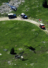 AERIAL VIEW OF SCENE OF CABLE CAR ACCIDENT WHICH KILLED TWENTY PEOPLE.