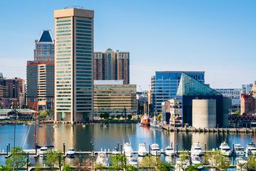 View of the Inner Harbor from Federal Hill Park in Baltimore, Maryland.