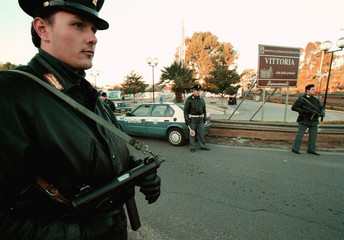 ITALIAN POLICE CHECK POINT IN THE SOUTHERN SICILIAN TOWN OF VITTORIA.