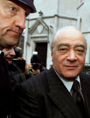 HARRODS BOSS MOHAMED AL FAYED ARRIVES AT THE HIGH COURT.