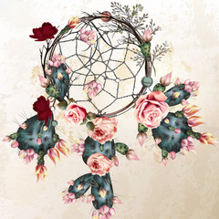 Grunge vector boho background with indian dreamcatcher and rose flowers in vintage style