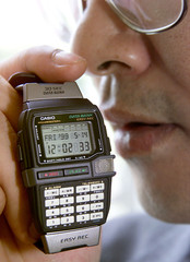 """Casio Computer introduces its new """"Easy Rec"""" databank watch with integrated circuit (IC) recording c.."""