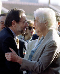 Spanish Foreign Minister Javier Solana with Italian Foreign Minister Susanna Agnelli before talks in..