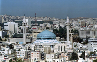 General view of Amman with the King Abdullah Mosque in center..