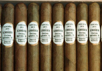 Close-up picture shows a box of cigars, which were presented to Social Democrat chancellor-elect Ger..