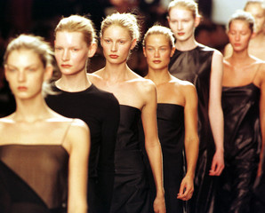 MODELS AT CONCLUSION OF CALVIN KLEIN SHOW.